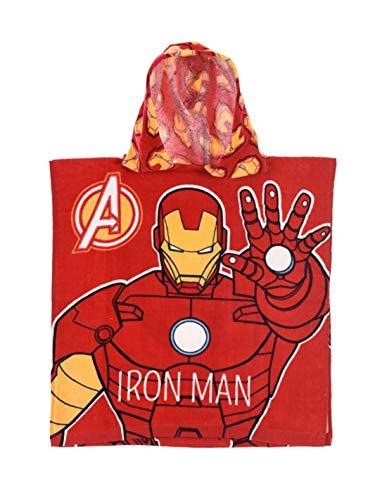 Iron Man Kapuzenbadetuch für Kinder, Jungen, Avengers, Rot, Einheitsgröße (2-6 Jahre) – Rot, Einheitsgröße