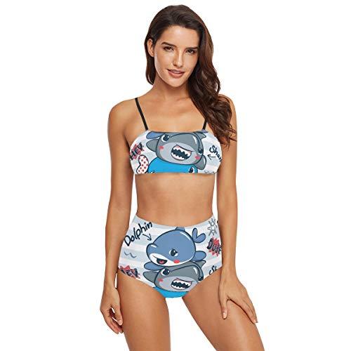 Lustiger süßer Delfin-Haifisch Wal Zweiteiliger Bikini Badeanzug Badeanzug Badeanzug Badeanzug für Frauen Teenager Mädchen Gr. S, mehrfarbig
