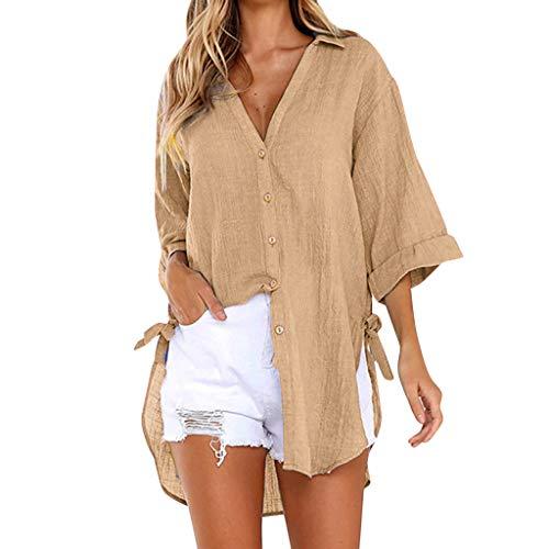 BaZhaHei Mode 2019 New Damen Plus Size Longshirt Oversize Tops Tunika Weste LoseTaste Langarmshirts Langarm Chic Bluse Freizeit Casual Dating Slim Top T-Shirt Pullover (4XL, Kaffee)