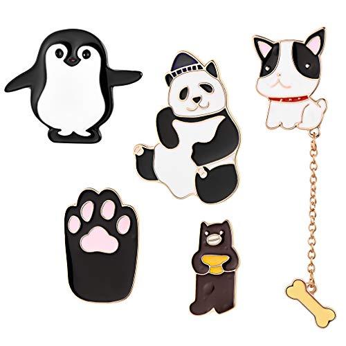 FaithHeart Animal Serie Pin Set 5 Piezas Broche Cute de Aleación Insignia Dibujos Animados Accesorios Disfraces Backpack Decoraciones
