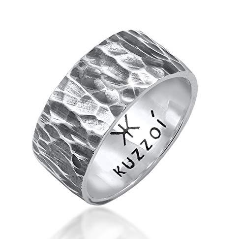 Kuzzoi Herrenring im Hammerschlag Design, Bandring massiv 10 mm breit in 925 Sterling Silber, Silberring gehämmert oxidiert, Ring für Männer im Biker Look, Ringgröße 62, 0604992820_62