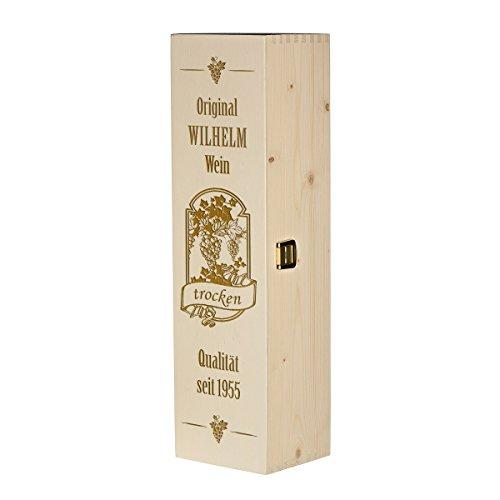 polar-effekt Weinkiste Holzbox mit Gravur – Personalisierte Geschenkbox für Weinflasche Weinpräsent – Geschenk zum Geburtstag oder Weihnachten Aufbewahrungskiste – Motiv Qualitätswein