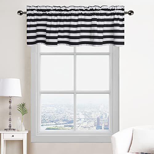 Black and White Striped Kitchen Valances for Window, Curtain Drapes for Bathroom, Bedroom, Living Room, Decorative Window Treatment with Rod Pocket Panels, 56