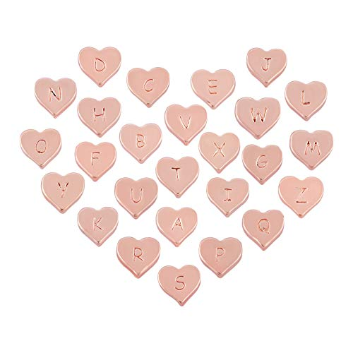 CHGCRAFT 26pcs Alloy Alphabet Heart Beads Rose Gold Beads with A-Z Letter, 0.39×0.39×0.14 Inches Loose Beads for Bracelet Jewelry Crafts Making Hole:0.06 Inches