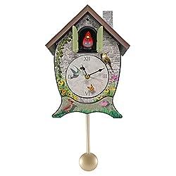 Mark Feldstein Garden Cottage Singing Cardinal Tabletop Wall Sound Cuckoo Clock