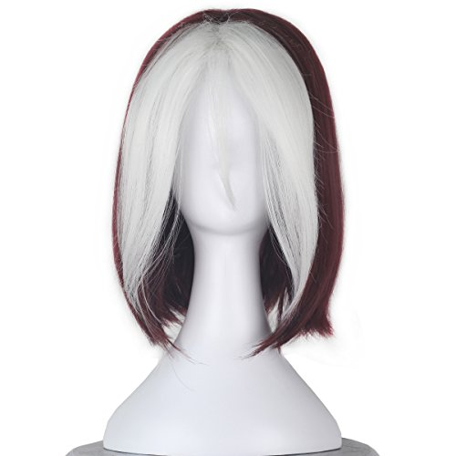 Women Short Wavy Burgundy Brown and White Strands Hair Cosplay Costume Wig C350
