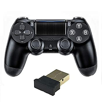 TUODING PC Controller 2.4G Wireless Gaming Controller Gamepad for PC/Laptop Computer Windows XP/7/8/10  & PS3 & Android & Steam Dual-Vibration Joystick Gamepad- Black
