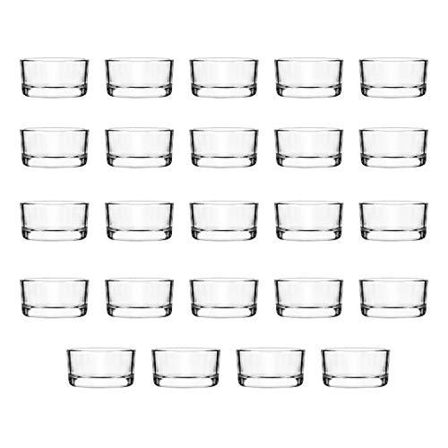 BELLE VOUS Runde Glas Teelichthalter (24 STK) - Transparente Teelicht-Gläser (D4,5 cm x H2,5cm) – Kerzenhalter für Teelichter - Ideal für Hochzeiten, Wohnaccessoire, Partys, Tischdeko und Geschenke