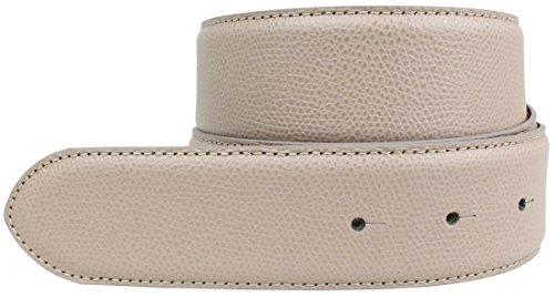 Brazil Lederwaren Wechselgürtel aus Leder ohne Schnalle 4 cm | Modischer Druckknopf-Gürtel für H-Schnalle 40mm Damen Herren | Taupe 85cm