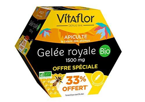 VITAFLOR Gelée Royale 1500 mg | Offre spéciale | Boite de 20 Ampoules Format Promo | La plus vendue des gelées royales pures en ampoules en pharmacie*