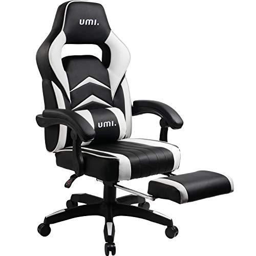 Umi Gaming Stuhl Bürostuhl Schreibtischstuhl mit Armlehne Drehstuhl Höhenverstellbarer Gaming Sessel PC Stuhl Ergonomisches Chefsessel mit Fußstützen White