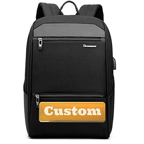 Claiyi Nombre Personalizado Bolso de Agua 15.6 Pulgadas Laptop Business Travel Mochila USB (Color : Black, Size : One Size)