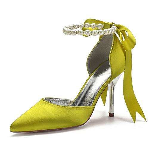 QXue Zapatos de novia para mujer, de satén, tacón de aguja, con...