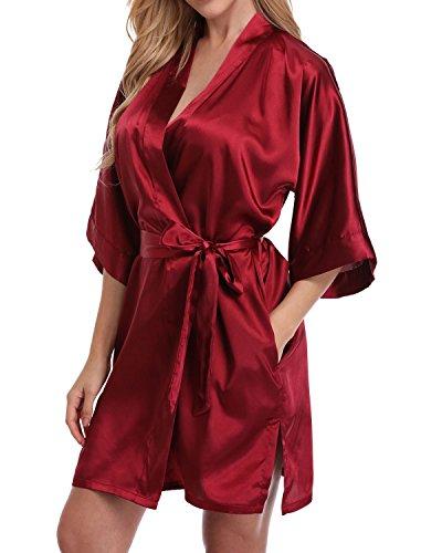 Women's Short Satin Kimono Robe for Bride and Bridesmaids Party Burgundy L