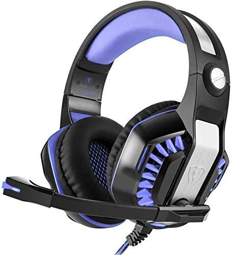 CamKing Gaming Headset, GM-2 Gaming Headset, multifunktionale Stereo-Kopfhörer mit Mikrofon, Bass Surround und Soft Memory-Ohrenschützer für PS4, PC, Xbox One und Handy (Schwarz + Rot) (GM-2R7)