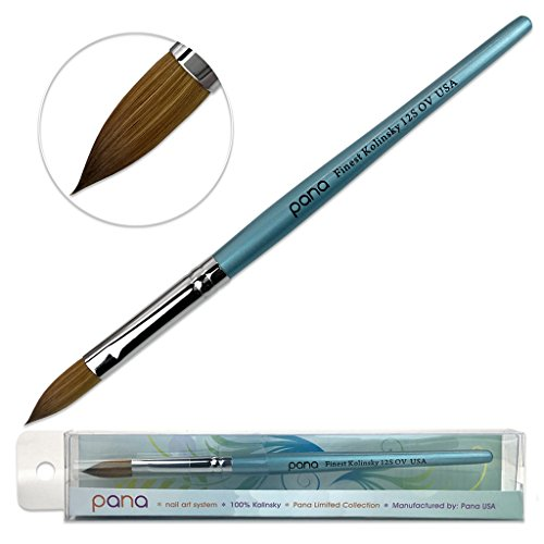 Pana USA Acrylic Nail Brush100% Pure Kolinsky Hair New Teal Wood Handle with Silver Ferrule Oval Crimped Shaped Style (Size # 12)