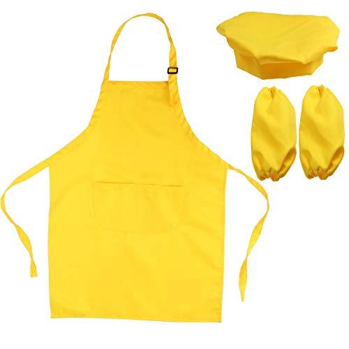MaoDaAiMaoYi Kinderschort en koksmuts handwarmers kinderen chic casual keuken schilderij speelset geschenk (geel) keukenschort modern stijl restaurant server chef-kelner schort