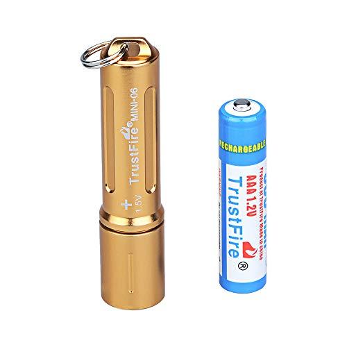 TrustFire MINI-06 Mini Led Taschenlampe 90 Lumen mit Schlüßelanhänger und AAA Akku Batterie aufladbar - Golden