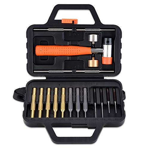 Pridefend Steel Brass Punch Set, Roll Pin Punch, Hollow-end Starter Punch, Hammer with Brass Steel Nylon and Rubber Detachable Heads, Gunsmith Hammer and Punch Set with Portable Storage Case