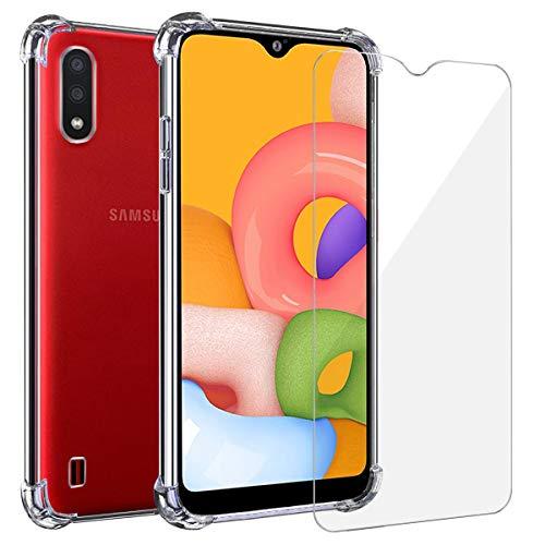 Annhao Funda Samsung Galaxy A01 + Cristal Templado, Transparente TPU Ultrafina Cuatro Esquinas Anti-Caídas Suave Silicona Anti arañazos, Case para Samsung Galaxy A01