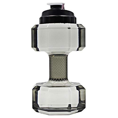 Zonfer Große Kapazität Kunststoff Hantel Wasserflasche Beweglicher Sport 2.2l Hantel Wasserkocher Umweltfreundlich Cup Hantelform Trinkwasser-Flaschen