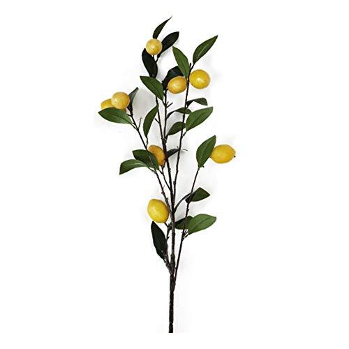 YHNHT Ramas artificiales de limón, 37 pulgadas, flores falsas de limón, plantas de árbol de limón con ramas de hojas verdes artificiales para decoración del hogar, bodas y fiestas