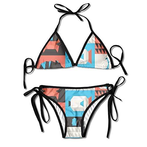 Women Origami Animal Printing Sexy Two-Piece Bikini Set Beach Bathing Suit