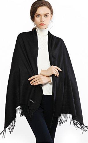 RIIQIICHY Invernale Sciarpa Scialle Pashmina da Donna Elegante Lungo Morbida Calda Stole Sciarpe Nero