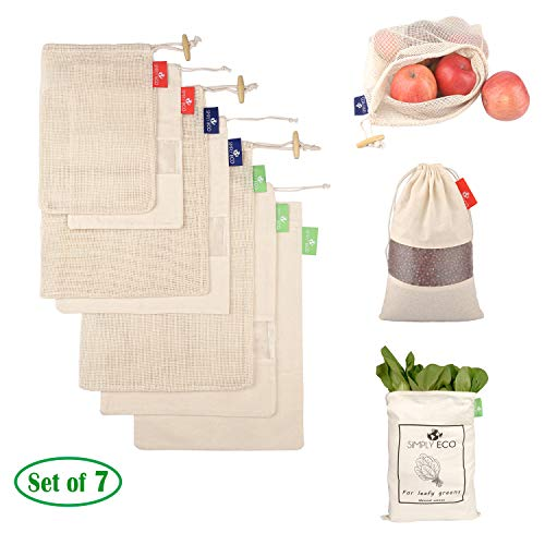 SIMPLY ECO 7 reusable natural cotton produce bags with drawstring Mesh bags for fruits and veggies muslin bags with see through window for bulk food storage Zero waste mesh eco bags