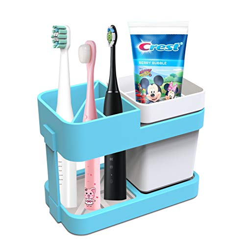 Toothbrush Holder for Kids Girls Boys,Toothpaste Toothbrush Holder for Bathroom Organizer Set with Toothbrush Cup
