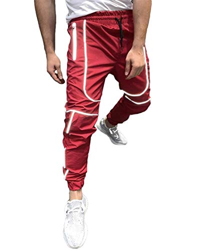 Men's Reflective Track Pants Casual Jogger Lightweight Elastic Waistband Drawstring Quick Dry Sweatpants with Pockets (Red, XL)