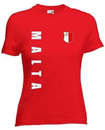 Malta Damen T-Shirt Trikot Wunschname Wunschnummer (Rot, L)