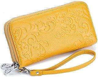 iBag's 2020 Women Purse Double Zipper First Layer Genuine Leather RFID Blocking Wallet Flower Pattern Manufacturer Hot