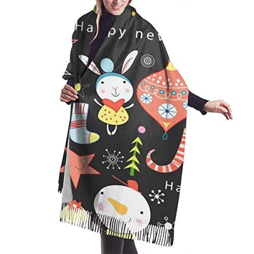 Bufanda de color personalizada Textura de muñecos de nieve y juguetes Mantón largo cálido para mujer Abrigos Sensación de cachemira de punto grande