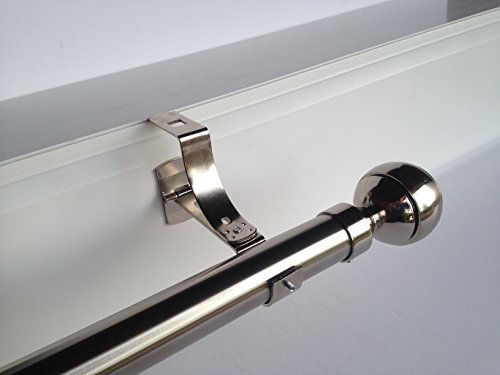 Geko 1 - Soporte sin taladrar para barra de cortinas, diámetro 20 mm, especial para persiana enrollable con ranura, color níquel