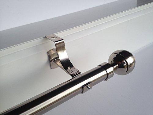 Geko - Pieza de soporte para barra de cortinas (diámetro: 28mm), especial para cajón de persiana con ranura, Níquel.