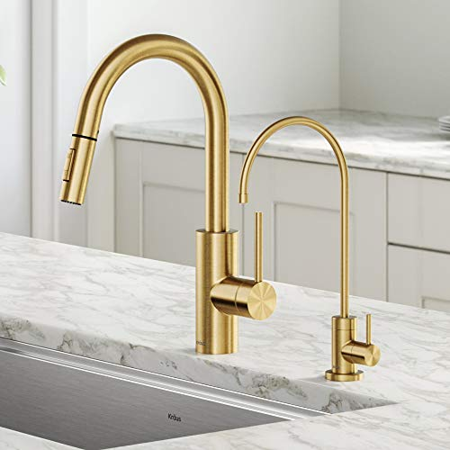 Kraus KPF-2620-FF-100BB Oletto Pull-Down Kitchen Purita Water Filter Faucet Combo, 16 Inch, Brushed Bronze
