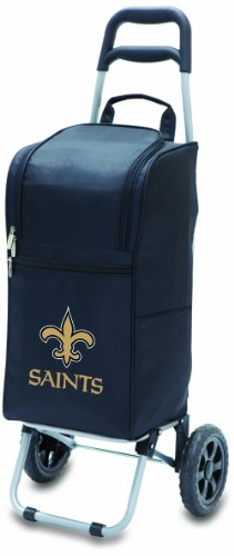 NFL New Orleans Saints Insulated Cart Cooler with Wheeled Trolley, Black