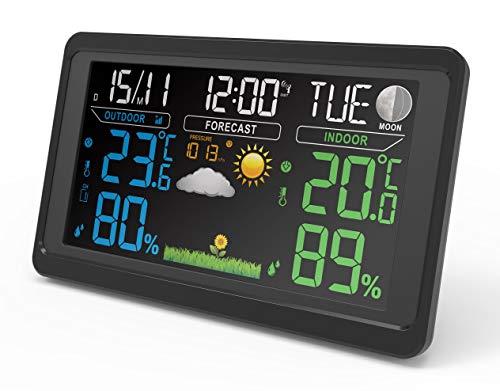 Wetterstation mit Außensensor Funk Digitales Farbdisplay Funkuhr Innen Außen DCF-Funkuhr Multifunktionale Wettervorhersage Funkwetterstation Thermometer Hygrometer