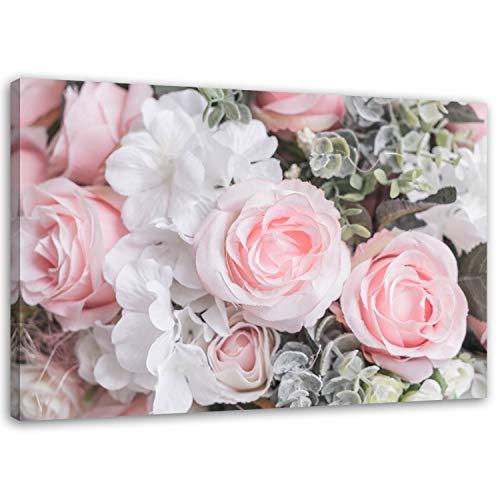 Feeby Leinwandbild 120x80 cm Rosen XXL Bild auf Leinwand Wandbild Wanddekoration Deko Kunst Kunstdruck Natur Blumen Rosa