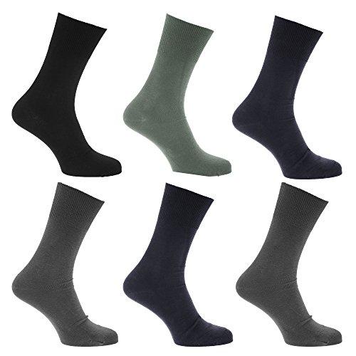 Textiles Universels Chaussettes non-élastiquée (lot de 6 paires) - Homme (39-45 FR) (Bleu)