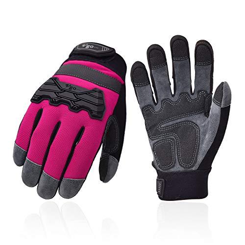 Vgo Arbeitshandschuhe für Damen, aus Hirschspaltleder, hohe Atmungsaktivität, Touchscreen, Klettverschluss (1 Paar, 9/L, Rot, DB9703)