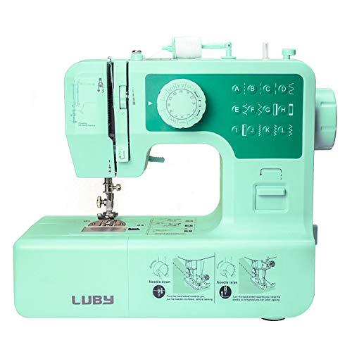 LUBY Máquina de Coser, 12 Puntadas Incorporadas, Bricolaje, Portátil, Elegante Verde