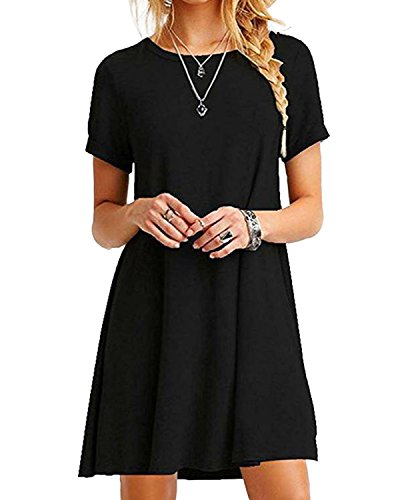 YOINS Women Mini Dresses Short Sleeve Casual Loose Tunic Round Neck Long Tshirt Mini Dress, Black Black, M