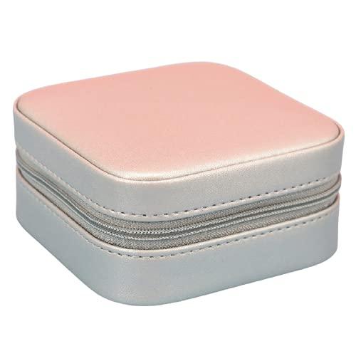 LDDPP Joyero organizador con espejo, caja de almacenamiento de joyas de piel sintética para anillos, pendientes, collar, plata