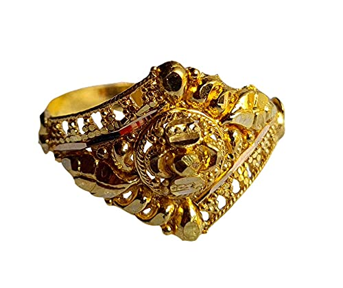 Oro fino amarillo macizo de 18 quilates (18 quilates) Redondo Diseño Señoras Anillo Tamaño -1.5 Joyas preciosas hechas a mano en la India para regalos,aniversario,boda,compromiso