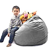Stuffed Animal Storage for Kids, Bean Bag Chair Cover (No Beans) Washable Premium Soft Plush Fabric for Organizing Children Plush Toys or Memory Foam Sturdy Large Opening Zipper
