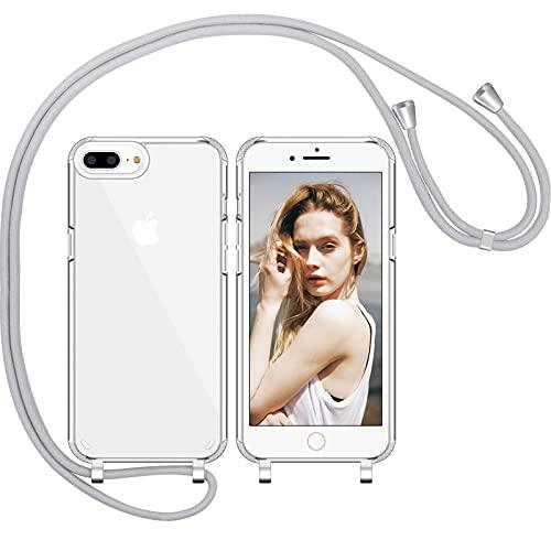 Nupcknn Funda de silicona líquida para iPhone 7 Plus/iPhone 8 Plus/iPhone 6S Plus, funda para el cuello (extraíble), funda con cordón para colgar, funda para teléfono móvil con banda (gris claro)