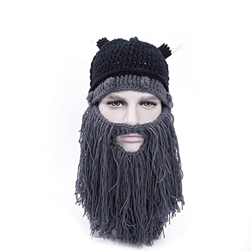 Wintermütze Bart Strickwolle Haar Strickmütze Wollmütze Winter-warmer Hut Winddichtes Lustige Kappe für Männer (grau), Bart-Verzierungen für Männer-Hüte