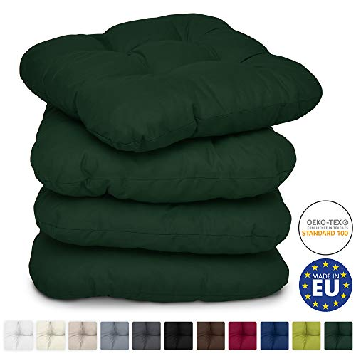 Beautissu 4 Set Padded Seat Cushions Lisa Large Garden/Dining Chair Bench Pads 40 x 40 x 8 cm Thick & Soft Dark Green Booster Pillow